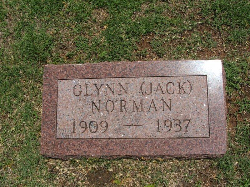 Glynn (Jack) Norman memorial, Riverside Cemetery, Mangum, Greer County, Oklahoma, USA