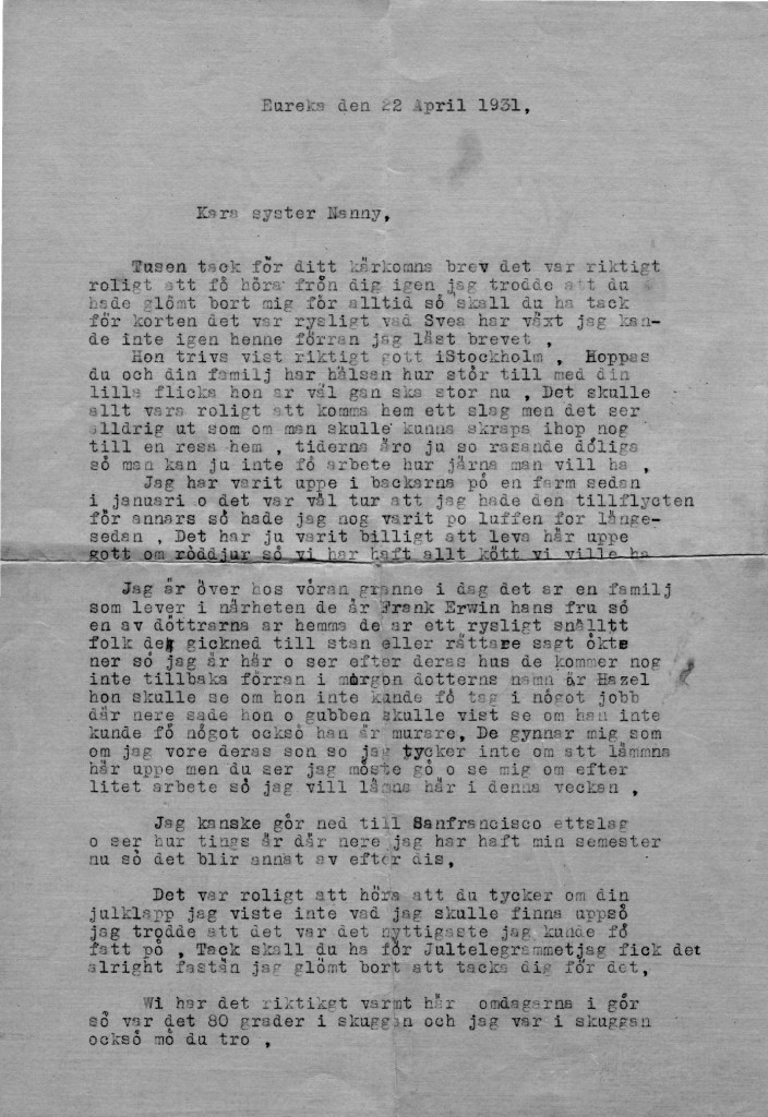 Letter typed by Lindros on Hazel Erwin's typewriter, Panther Gap Road, Dyerville, Humboldt County, April 22, 1931. Thanks to this letter rediscovered in the cottage in 2012, we met with the Erwins the year after.