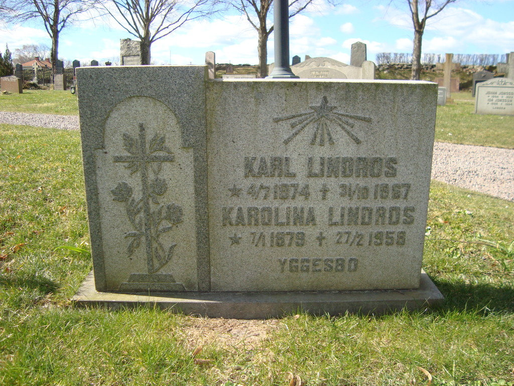 Karl and Karolina's headstone at Halltorp cemetary, Småland province, Sweden, 2012.
