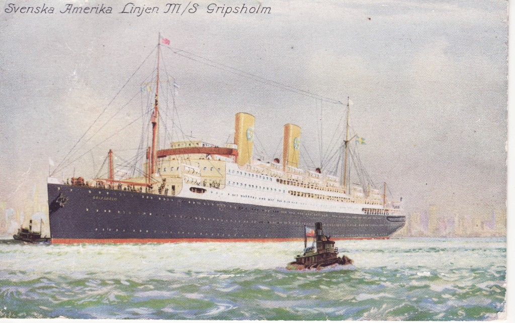 Swedish America Line's brand new M.S. Gripsholm, on her maiden voyage across the Atlantic on November 21, 1925.