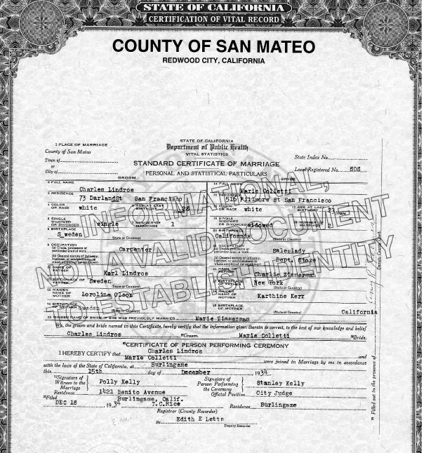 Charles Lindros and Marie (Zimmerman) Colletti's marriage certificate, Burlingame, California, December 15, 1934. Source: Courtesy of the San Mateo county archive.
