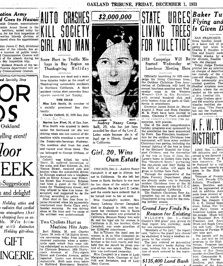 Newspaper report on the fatal car crash that killed Charles Colletti on Thanksgiving Day 1933.