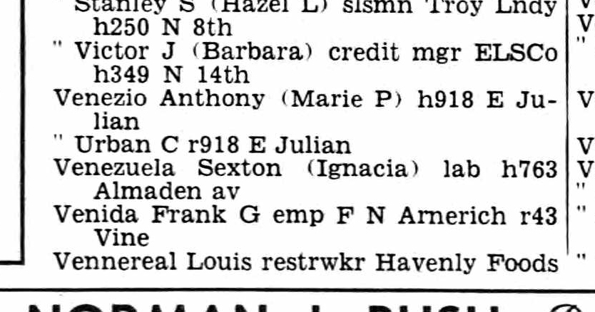 Excerpt from the San Jose 1949 City Directory. I came across this record early, but Urban C. proved a challenge. The mystery was cracked in the moment I by chance entered Charles (for the C) Zimmerman in the search database, which returned the boy's birth record: Charles Ervin, born in 1931, mother's maiden name: Zimmerman. Source: Polk's San Jose (California) 1949-50 City Directory, page 724, R. L. Polk & Co., Publishers, San Francisco 1950.