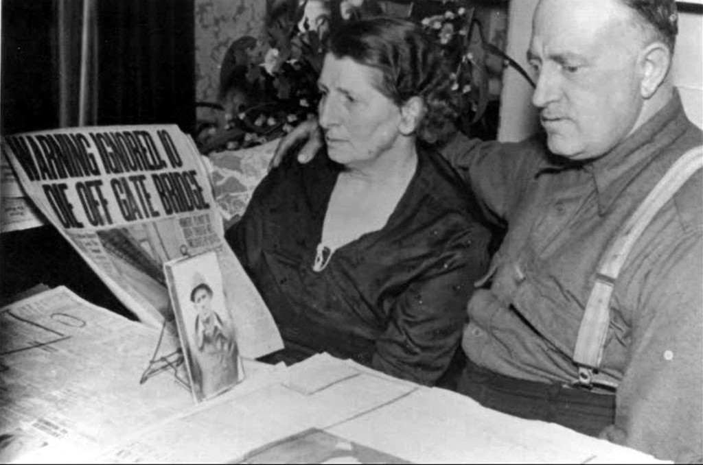 Anna Maria and Gustave Jacob Dummatzen watch in disbelief newspaper reports on their son's death. Borrowed from here.