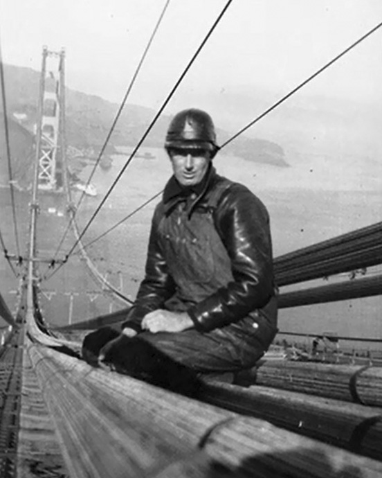 The body of Fred Dummatzen was recovered from the Golden Gate waters after he had been killed in a 250-foot fall when a work platform collapsed the safety net. Borrowed from here.