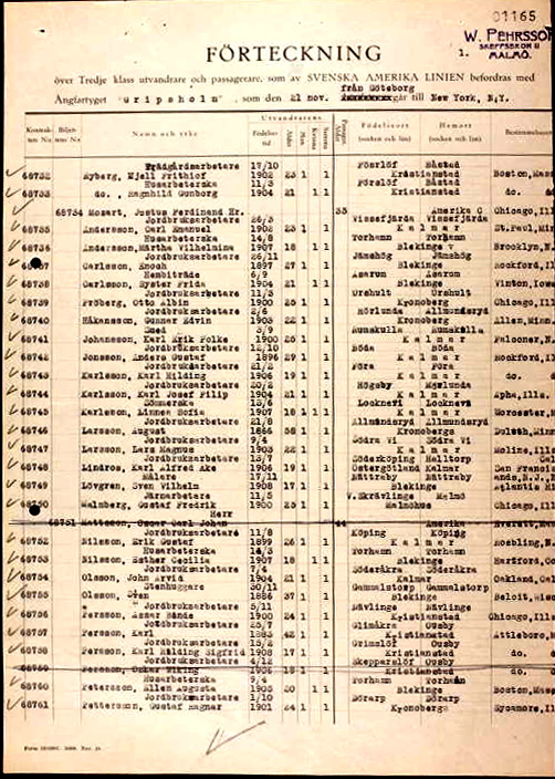 Gripsholm's passenger list on her maiden voyage departure from Göteborg, on November 21, 1925. Lindros's entry is halfway down on the page.