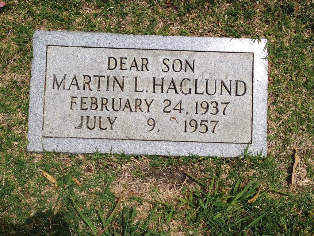 Elof Haglund's son was buried at Sunset View Cemetery, El Cerrito, Contra Costa County. Picture borrowed from here.