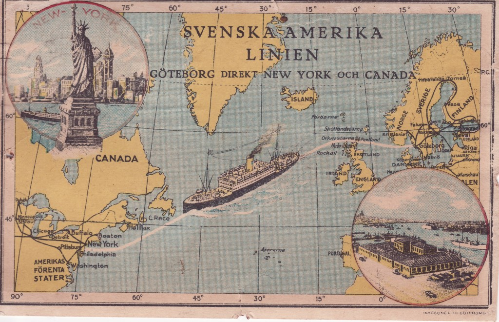 When the shipping company in Sweden received telegraph message that the liner had arrived safely in New York on November 30, 1925, they sent this postcard of notification to Lindros's folks.