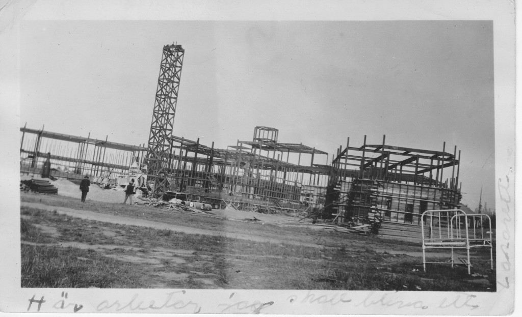 Building of a hospital, location unknown. Probably in the Bay Area, around 1931-1935.